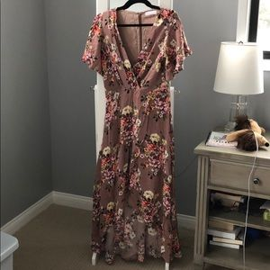 NWT boutique mauve floral high low dress, size s